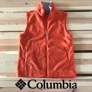 Columbia Fleece Zip Vest Bright Orange Pockets